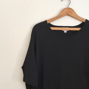 M Lularoe Irma Solid Black Tunic T-Shirt Top Noir